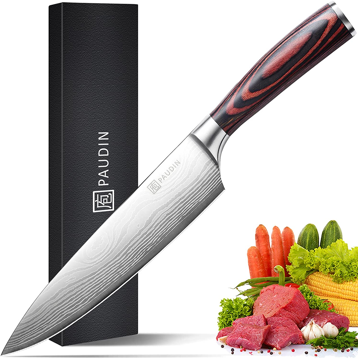 PAUDIN N1 8 inch Kitchen Knife, German High Carbon Stainless Steel Sharp Knife, Professional Meat Knife with Ergonomic Handle and Gift Box